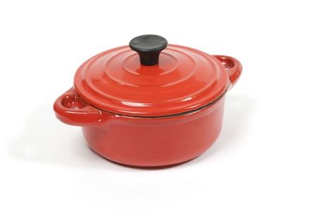 Red Schmortopf mit geschlossenem Deckel Standard-Bild