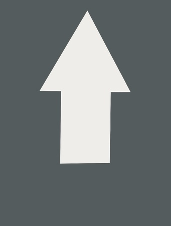 White arrow on blue grey color pointing upwards Stock Photo - 10447348