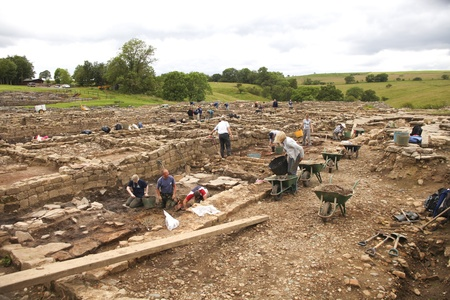 archaeologist: Excavation work at the English heritage site of Roman Vindolanda near the Hadrian wall Editorial