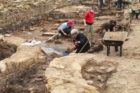 archaeologist: Excavations at Roman Vindolanda near the Hadrian wall