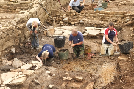 Archaeologists at excavations at Roman Vindolanda
