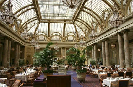 SAN FRANCISCO, USA- JULY 30: Garden court restaurant with its beautiful art deco glass ceiling at the  Palace Hotel in San Francisco on July 30th, 2005