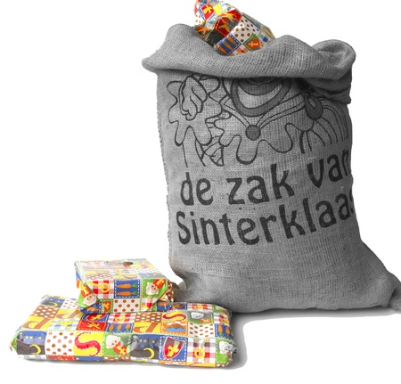 Dutch Sinterklaas celebration with a big bag filled with presents