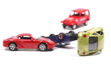 Car crash with toy cars
