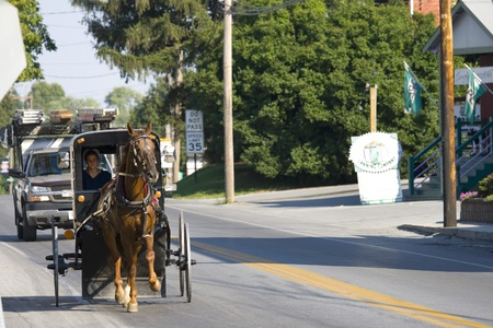cart road: USA,INTERCOURSE, PENNSYLVANIA- SEPTEMBER 3: Young Amish woman driving on the road of the village of Intercourse in Pennsylvania in a horse drawn cart on september 3, 2008 Editorial