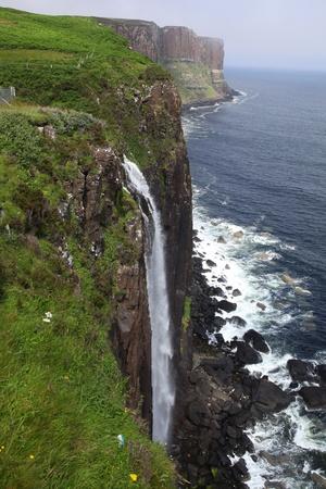 kilt: Beautiful waterfall at Kilt Rock on the isle of Skye Stock Photo