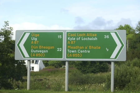 bilingual: Bilingual road sign in north west Scotland