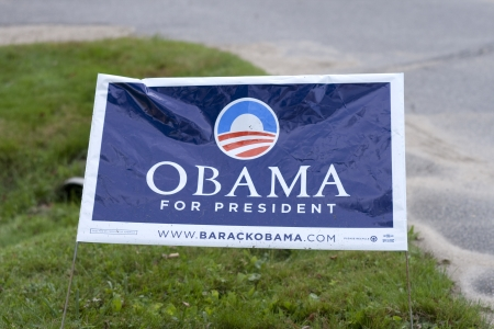presidency: Washington DC, USA-SEPTEMBER 8: Campaign banner for Obama election in front garden of a house on september 8, 2011. Obama will be running for presidency again in 2012.