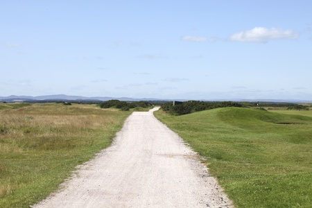 Sand road between the golflinks at st. Andrews Stock Photo - 10897763