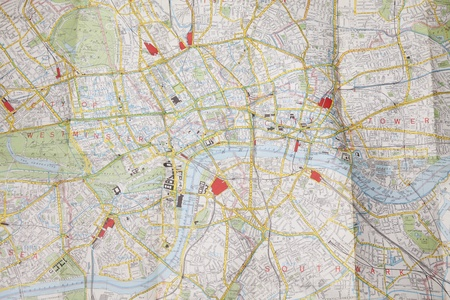 south west england: Folded map of central London  Stock Photo