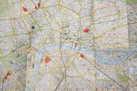 Central London on a folded map photo