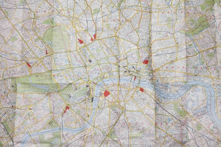 vintage world map: Folded plan of central london