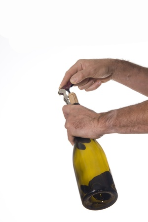 cork screw: Man opens a bottle of wine with professional cork screw