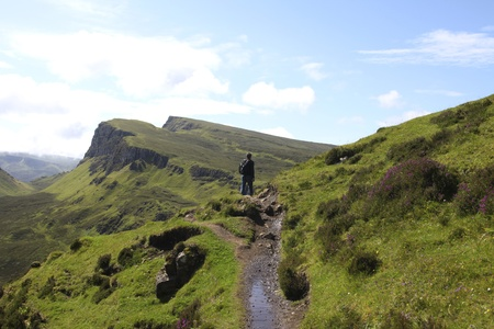 Man hiking in the Quiraing on the isle of Skye Stock Photo - 11269482