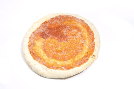 Frozen pizza without topping with ice Stock Photo - 11534406