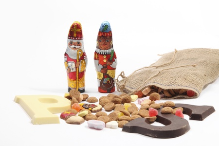 Dutch sweets for Sinterklaas holiday like chocolate letters and candy photo