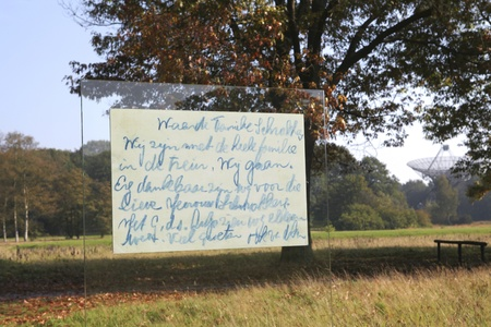 deported: THE NETHERLANDS, CIRCA OCT 10:  Blown up postcard sent by deported jews from train to auschwitz at Dutch memorial site Westerbork on oct 10, 2011. Text: we are with the whole family on the train.We are going.