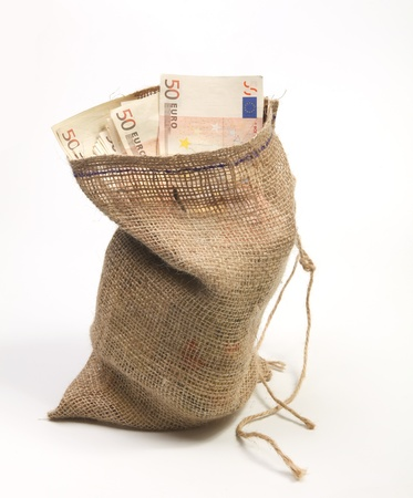 jute: Jute bag filled with fifty euro bills