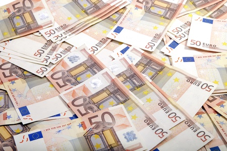 50 euro: Background of fiftty euro bills Stock Photo