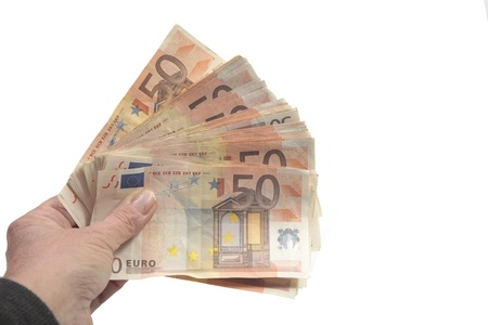 bank notes: Big pack of fifty euro bills in hand