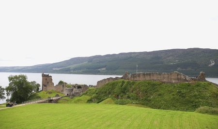 Ancient medieval Urquhart castle on the shore of Loch Ness in Scotland