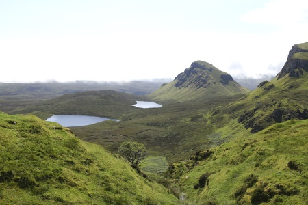 british weather: Beautiful Quiraing landscape on the Isle of Skye in Scotland