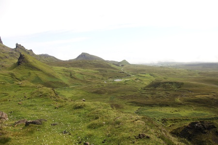 Quiraing landscape with road on the Isle of Skye in Scotland Stock Photo - 11870632