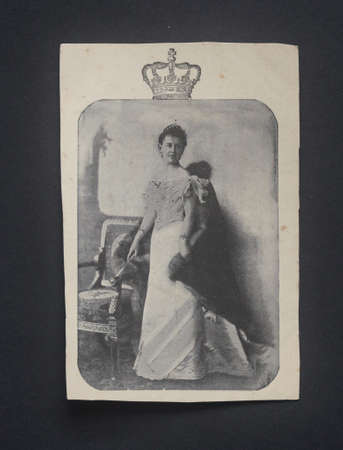 wilhelmina: NETHERLANDS CIRCA 1900 - Vintage postcard showing a young Wilhelmina, Queen of the Netherlands from 1890 to 1948 circa 1900 Editorial