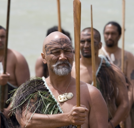 traditional weapon: NEW ZEALAND-FEB 6:Elderly Maori warrior with Taiaha at a Haka on Waitangi Day celebration,Feb 6, 2009. Waitangi day is a public holiday,yearly on Feb 6 to celebrate the signing of the Treaty of Waitangi