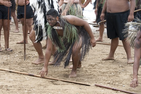 NEW ZEALAND-FEB 6:Maori warrior laying down spear at a Haka on Waitangi Day celebration,Feb 6, 2009. Waitangi day is a public holiday,yearly on Feb 6 to celebrate the signing of the Treaty of Waitangi
