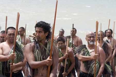 NEW ZEALAND- FEB 6: Maori warrior with fake tattoo at a Haka (warrior dance) on Waitangi Day celebration on February 6, 2009 in Waitangi. Waitangi day is a public holiday held each year on 6 February to celebrate the signing of the Treaty of Waitangi Editorial