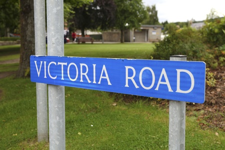 street name sign: Streetsign Victoria road in scottish village near Balmoral castle