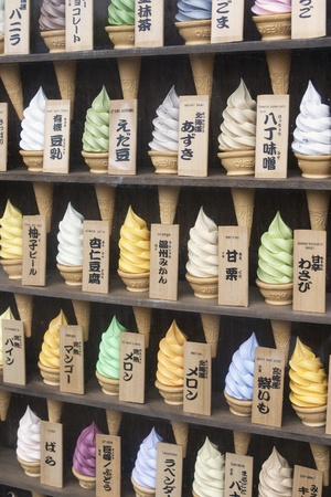 TOKYO, JAPAn-APRIL 1: Plastic ice cream cones with different flavors on display in shop in Tokyo on April 1, 2009.  Ice cream is a popular dessert in Japan with almost two in five adults consuming it at least once a week