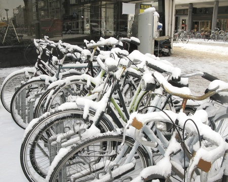 Bikes in the snow in the Netherlands photo