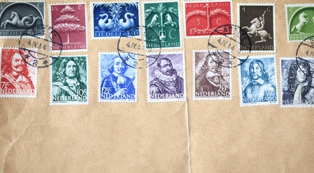 NETHERLANDS-CIRCA FEB 2010: Famous Dutch heroes  on postage stamps glued to an envelope, circa april 1944. It was war in the Netherlands and these stamps were an act of resistance against the occupancy of the Nazis