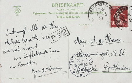 Vintage postcard with address in the Netherlands and 10 centimes french stamp postmarked in 1908