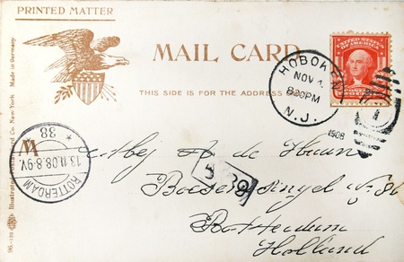 postmarked: Vintage postcard with handwritten address in the Netherlands sent from the USA and postmarked in 1908 in Hoboken (USA) and Den Helder (Netherlands) Editorial