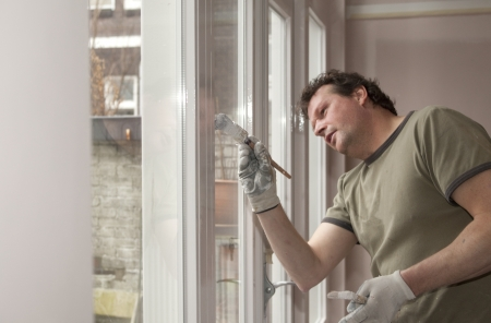 Professional house painter at work in home photo