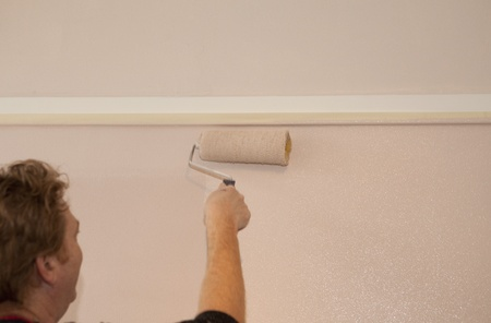 Painter rolling wall photo