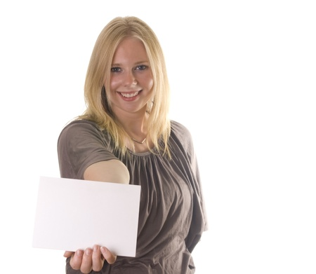 Young blonde woman holding a blank card Stock Photo - 13162371