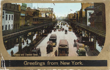 settled: NEW YORK , USA- CIRCA 1906: Vintage postcard depicting the Bowery with its Third avenue El, New York, USA, circa 1906. When the Dutch settled on Manhattan island, they named the path Bouwerij road � bouwerij being an old Dutch word for farm as it Nwas m