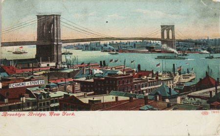 old new york: BROOKLYN, NEW YORK - CIRCA 1900: Vintage postcard depicting the Brooklyn Bridge crossing over the East River, connecting Manhattanand  Brooklyn, New York, USA, circa 1900