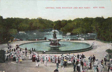 NEW YORK CITY - CIRCA 1905: Vintage postcard depicting the fountain and may party at central park in New York City, NY, USA, circa 1905