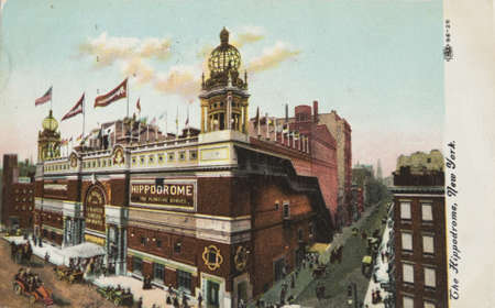 NEW YORK CITY Ð CIRCA 1905: Vintage postcard depicting The Hippodrome, built in 1905 & demolished in 1939 , New York City, USA, circa 1905. It was called the worlds largest theatre by its builders and had a seating capacity of 5,300