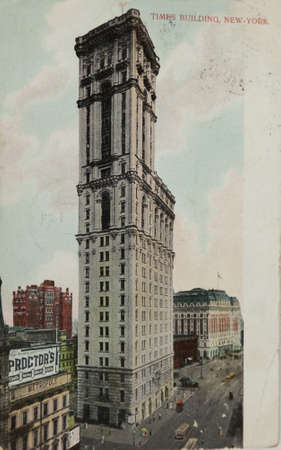 NEW YORK, USA-CIRCA 1907: The New York Times building at 42nd and Broadway in New York City circa 1907 called One Times Square. The spot later became known as Times Square