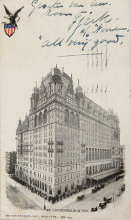 NEW YORK CITY Ð CIRCA 1909: Vintage postcard depicting the Hotel Waldorf Astoria on Times Square, built in 1904 & enlarged in 1909 with a total cost of $10,000,000, New York City, USA, circa 1909