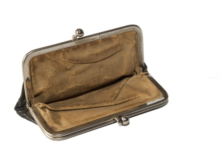 Empty old purse. Concept for financial loss. Stock Photo - 13286363