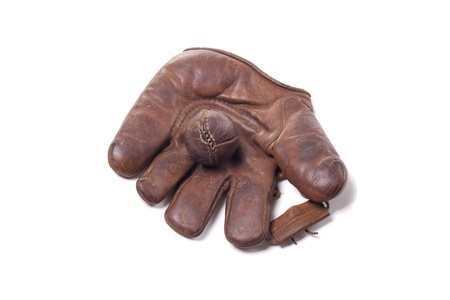 old items: Vintage leather baseball glove with ball