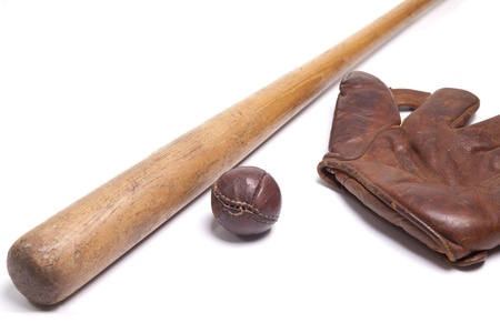 Vintage baseball bat with  ball and glove photo