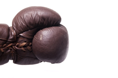 Punch by a left vintage boxing glove photo